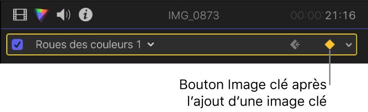 Bouton Image clé activé du paramètre Roues de couleur dans l'inspecteur de couleur
