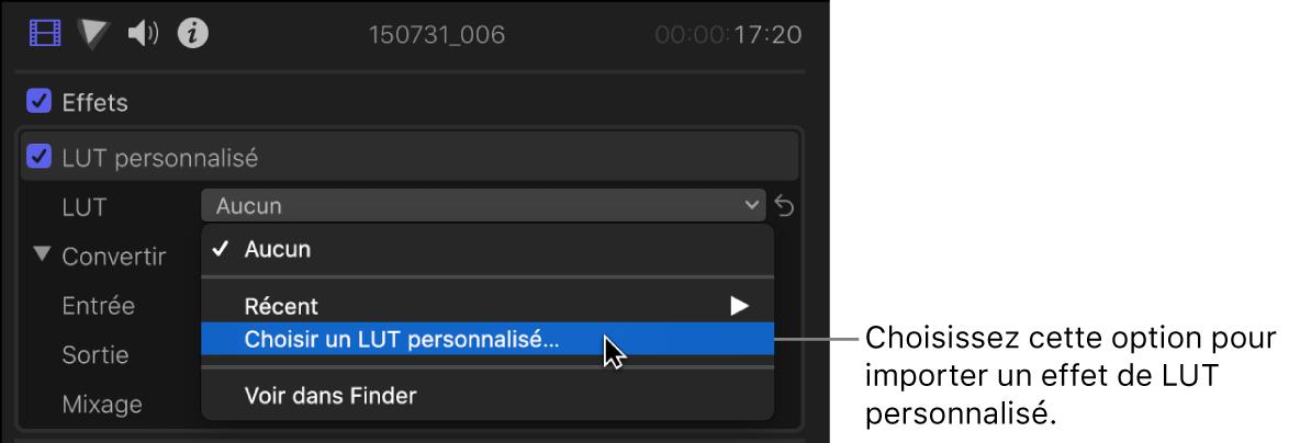 Option «Choisir une LUT personnalisée» choisie dans le menu local LUT dans la section LUT personnalisée de l'inspecteur vidéo