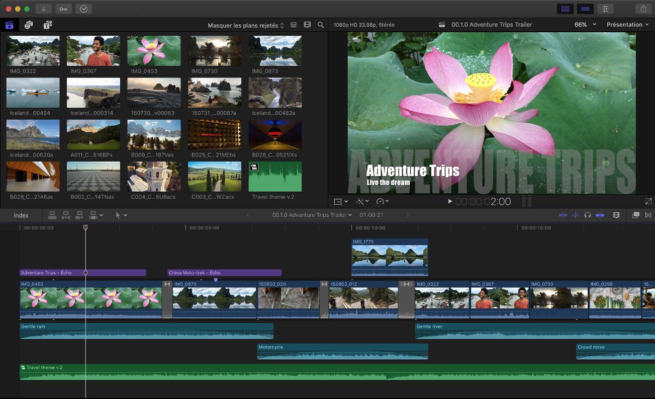 Fenêtre de FinalCutPro affichant le navigateur, le visualiseur et la timeline