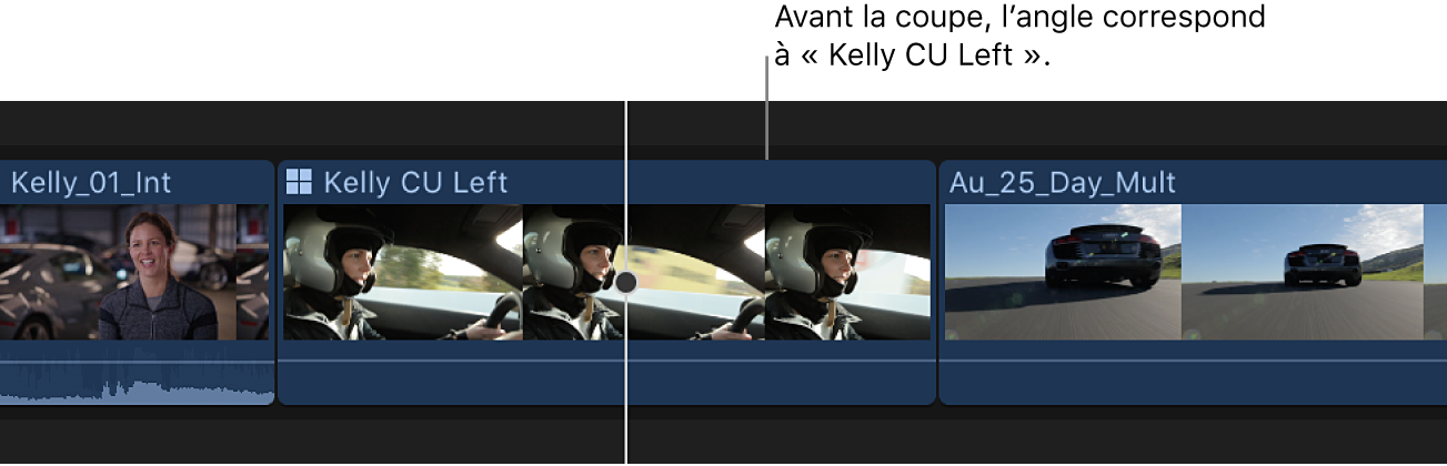 Un plan multicam dans la timeline avant un changement d'angle