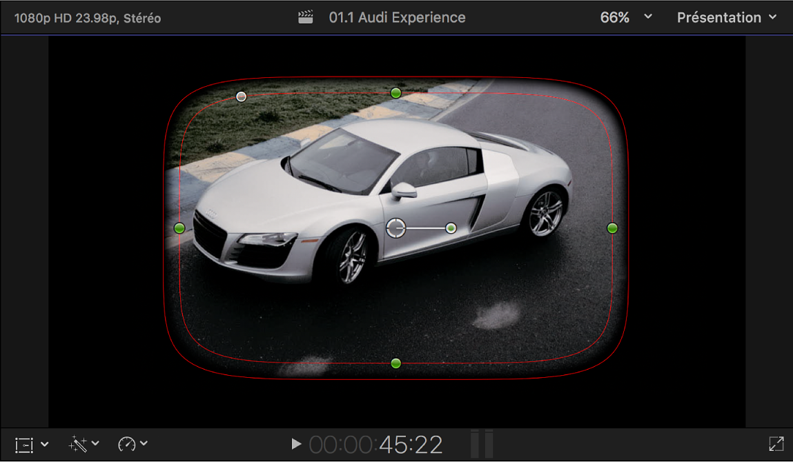 Visualiseur affichant les commandes à l'écran par défaut du masque de forme: un rectangle arrondi, dont le contour est partiellement progressif, placé au centre de l'image