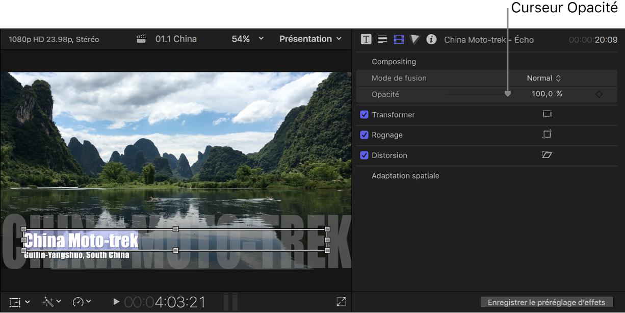 Texte du titre dans le visualiseur à gauche et inspecteur vidéo affichant le curseur Opacité à droite