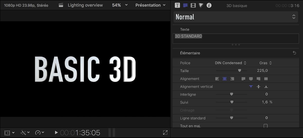 Titre 3D dans le visualiseur, avec réglages par défaut affichés dans l'inspecteur de texte