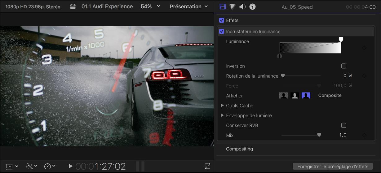 Visualiseur et inspecteur vidéo présentant l'effet Incrustateur en luminance