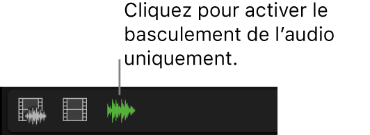 Le bouton de passage en mode audio uniquement affiché en surbrillance