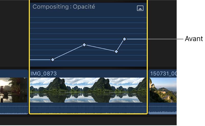 Courbe d'images clés dans l'éditeur d'animation vidéo avant le réglage