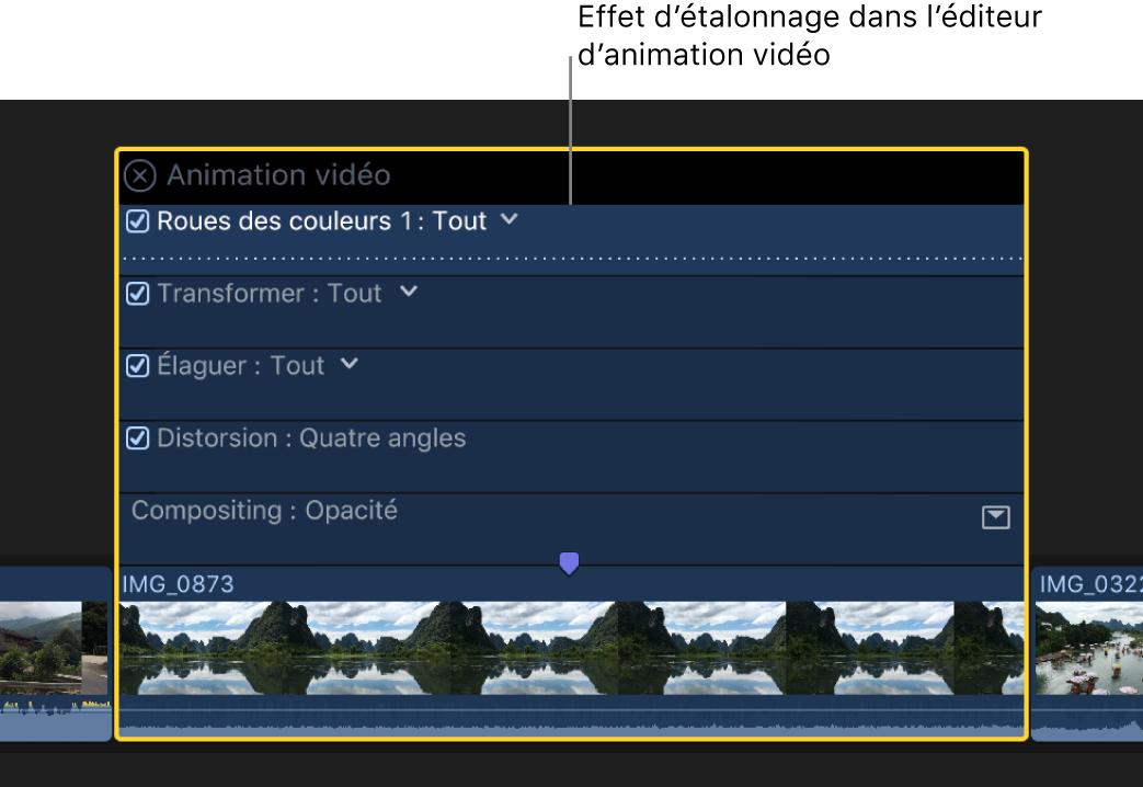 Effet d'étalonnage dans l'éditeur d'animation vidéo au-dessus d'un plan vidéo dans la timeline