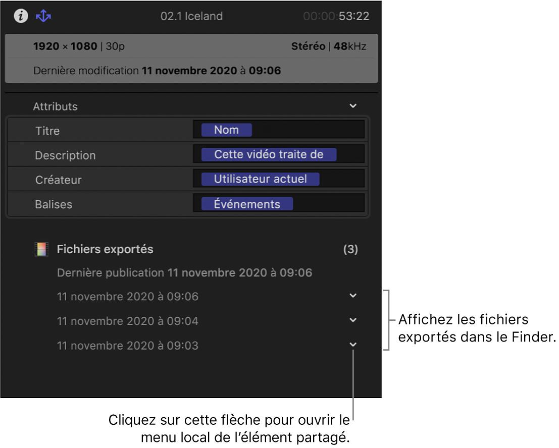 Inspecteur de partage affichant les informations relatives à l'emplacement de partage d'un élément sélectionné
