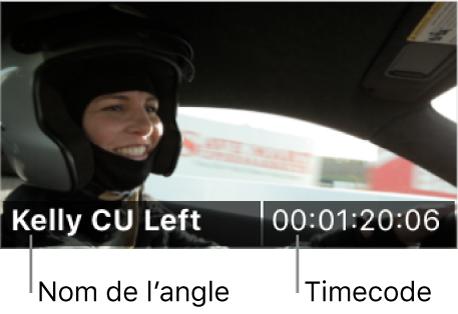 Le nom de l'angle et le timecode affichés sur un angle