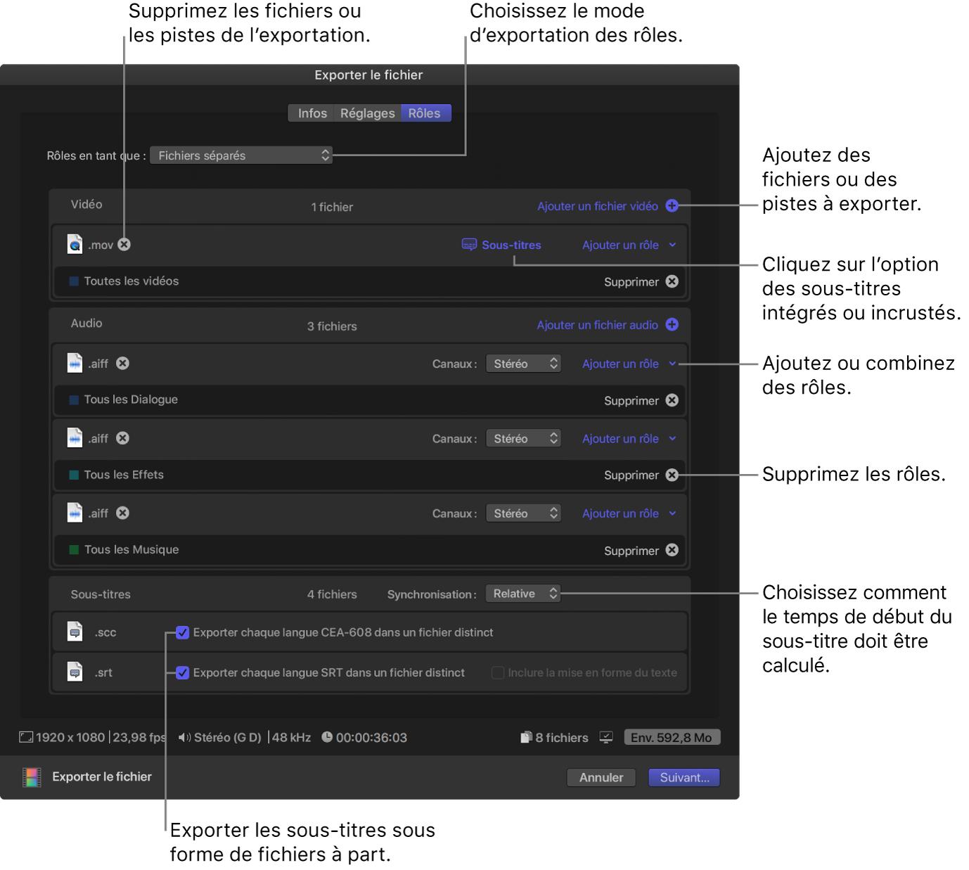 Fenêtre Réglages de la fenêtre Partager pour la destination Exporter le fichier