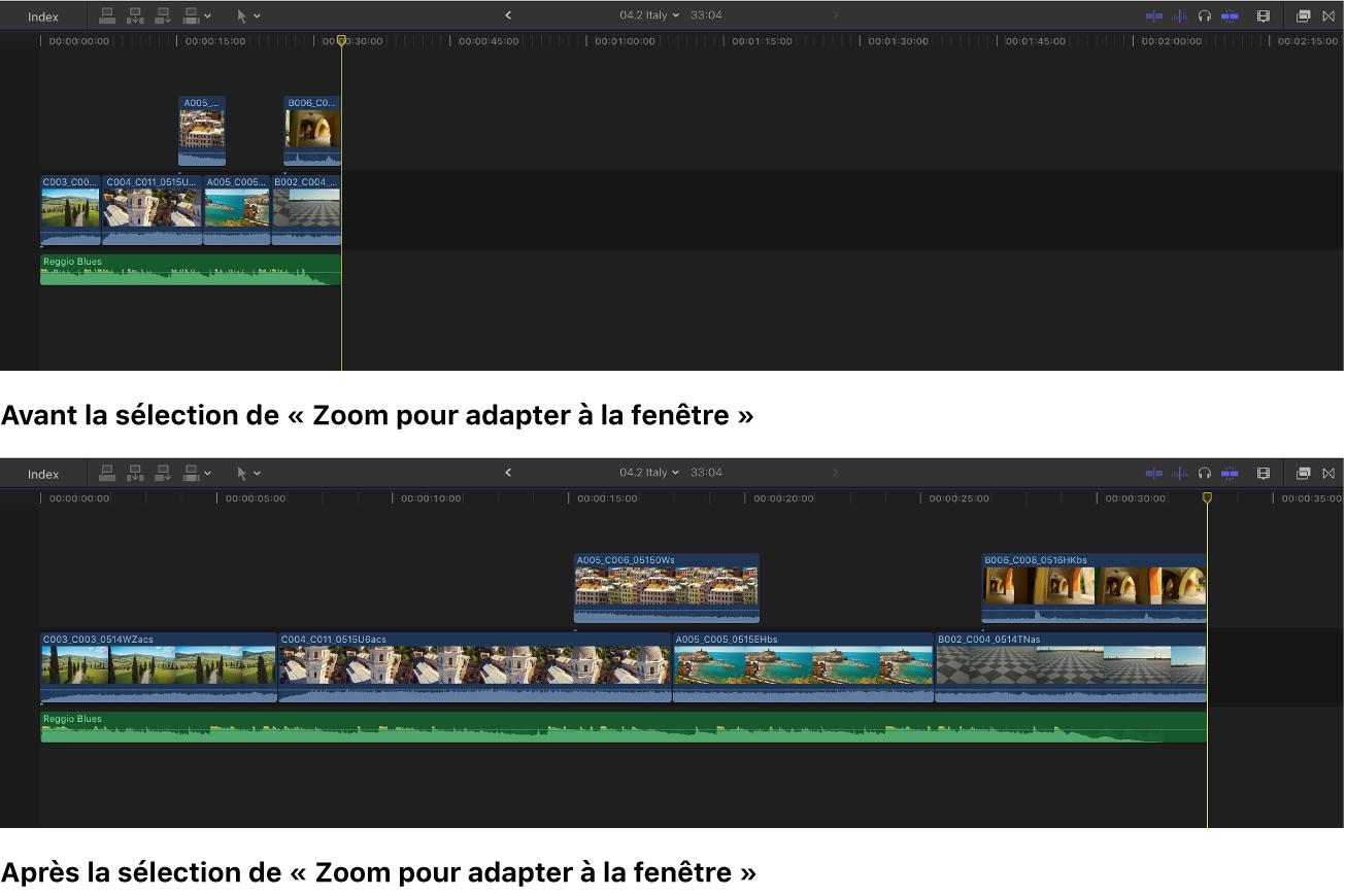 Timeline affichée après la sélection de l'option «Zoom pour adapter à la fenêtre»