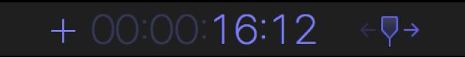 Zone d'affichage du timecode présentant un signe plus et le nombre de secondes et d'images dont la tête de lecture doit être avancée