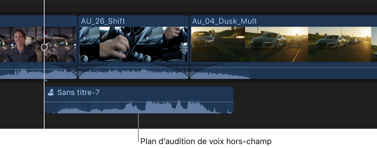 Timeline présentant un plan d'audition créé à partir de plusieurs prises de voixoff