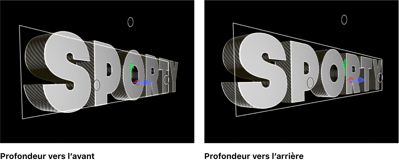 Titres3D dans le visualiseur, avec le sens de profondeur réglé sur Avancer et Reculer