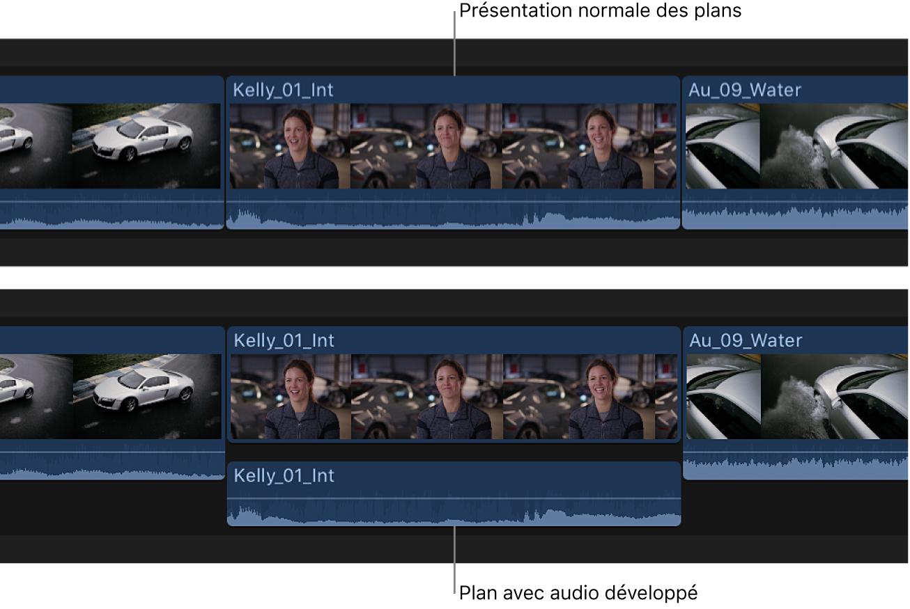 Plan affiché dans la timeline avant et après le développement de ses composants audio