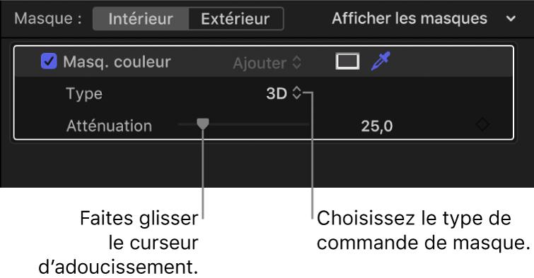 Section Masque de couleur de l'inspecteur avec le menu local Type défini sur 3D et le curseur Atténuation en dessous