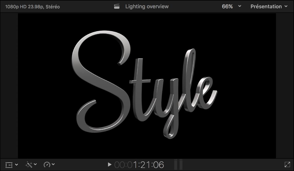 Visualiseur affichant un titre3D avec un éclairage théâtral