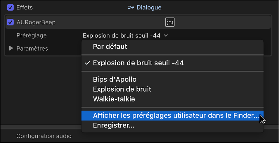 Section Effets de l'inspecteur audio affichant l'option «Afficher les préréglages utilisateur dans le Finder» dans le menu local Préréglage