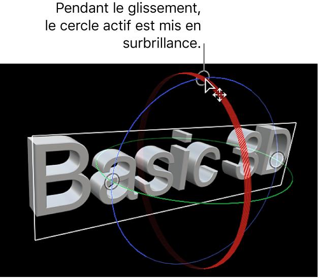 Visualiseur affichant un titre3D avec un cercle de rotation à l'écran