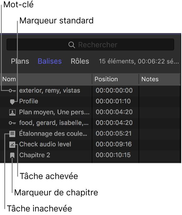 Bouton Balises en haut de l'index de la timeline, avec la fenêtre Balises affichée