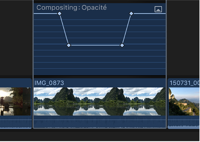 Images clés ajoutées à l'effet dans l'éditeur d'animation vidéo