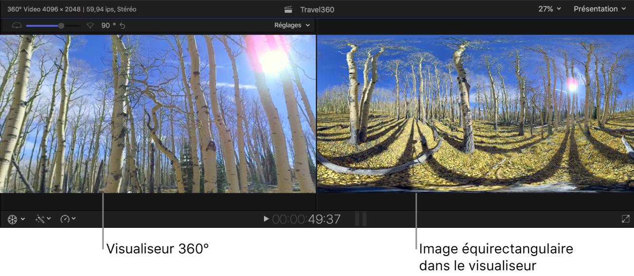 Visualiseur 360° et visualiseur standard montrant différentes projections de la même image 360°