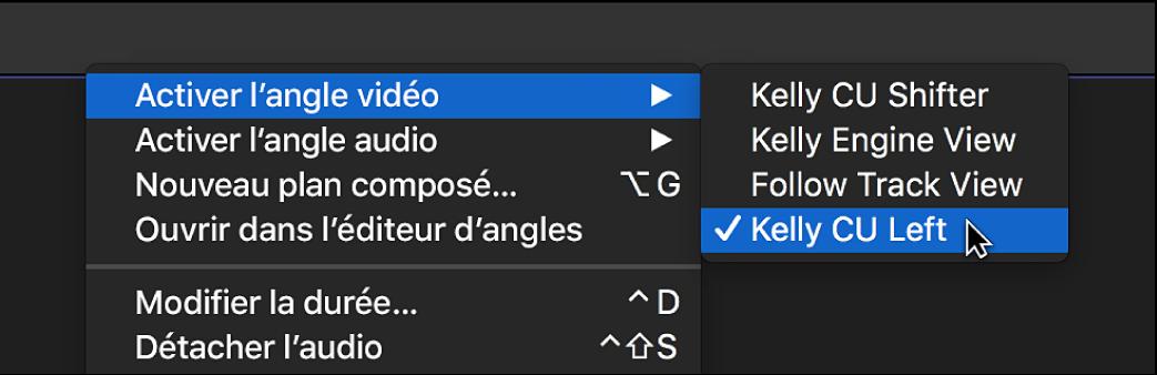L'angle vidéo actif d'origine à l'aide depuis un menu contextuel dans la timeline
