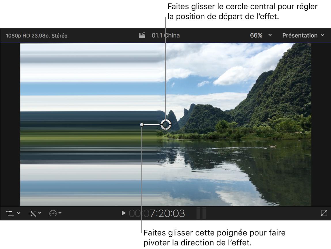 Visualiseur affichant les commandes à l'écran de l'effet Étalement