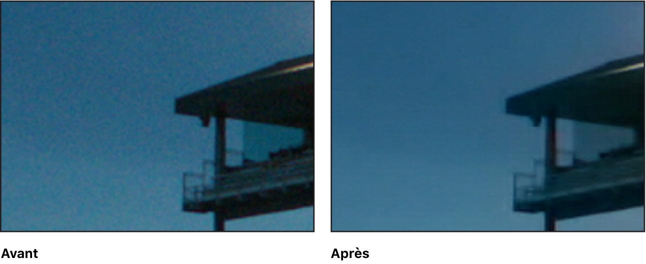 Détail d'une image vidéo, avant et après avoir appliqué l'effet Réduction de bruit
