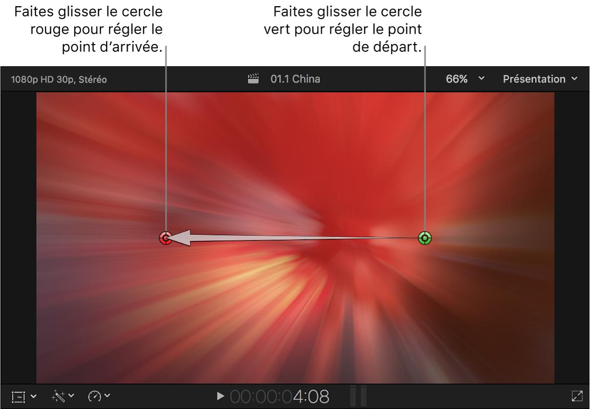 Visualiseur affichant les commandes à l'écran de la transition Zoom et panoramique