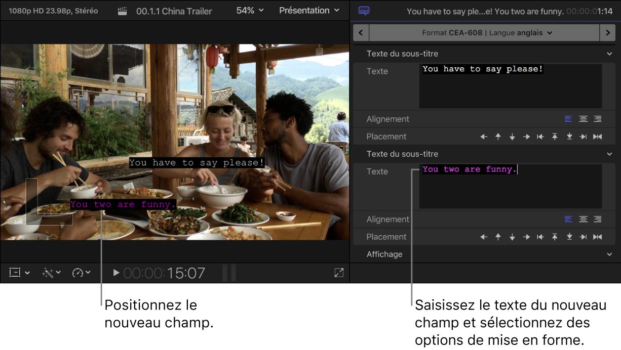 Visualiseur et inspecteur de sous-titre montrant un sous-titre avec deux champs de texte