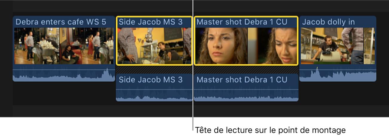 La tête de lecture placée sur un point de montage entre deux plans dans la timeline