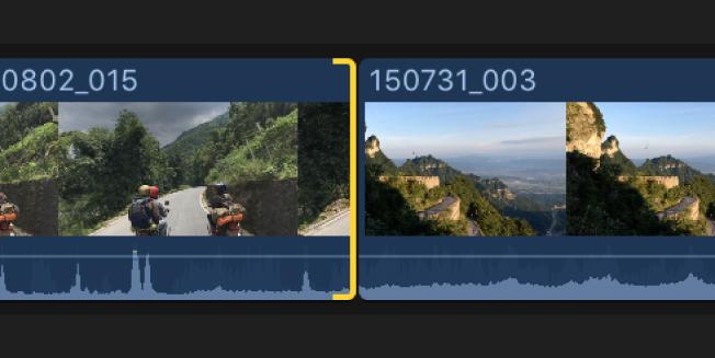 Point de montage sélectionné dans la timeline