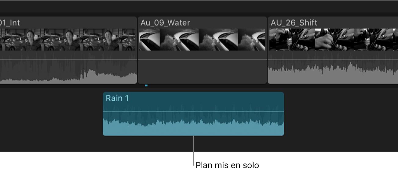 Plan en solo affiché en surbrillance dans la timeline, avec les autres plans estompés