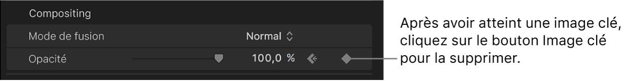 Bouton Image clé du paramètre Opacité dans l'inspecteur vidéo