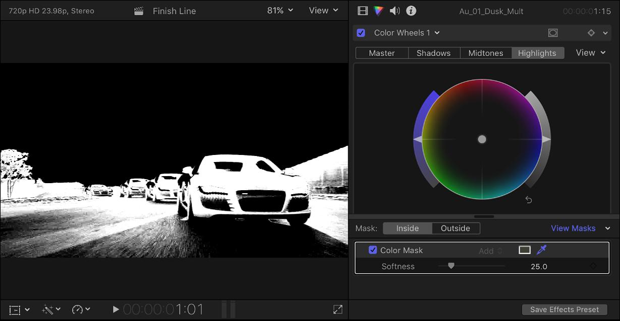 「カラー」インスペクタには「カラーホイール」エフェクトが表示され、ビューアにはカラーマスクのアルファチャンネルが表示されている