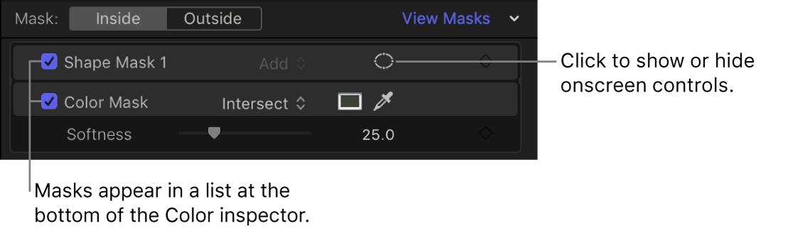 「カラー」インスペクタのマスクリスト。色補正のシェイプマスクとカラーマスクが表示されている