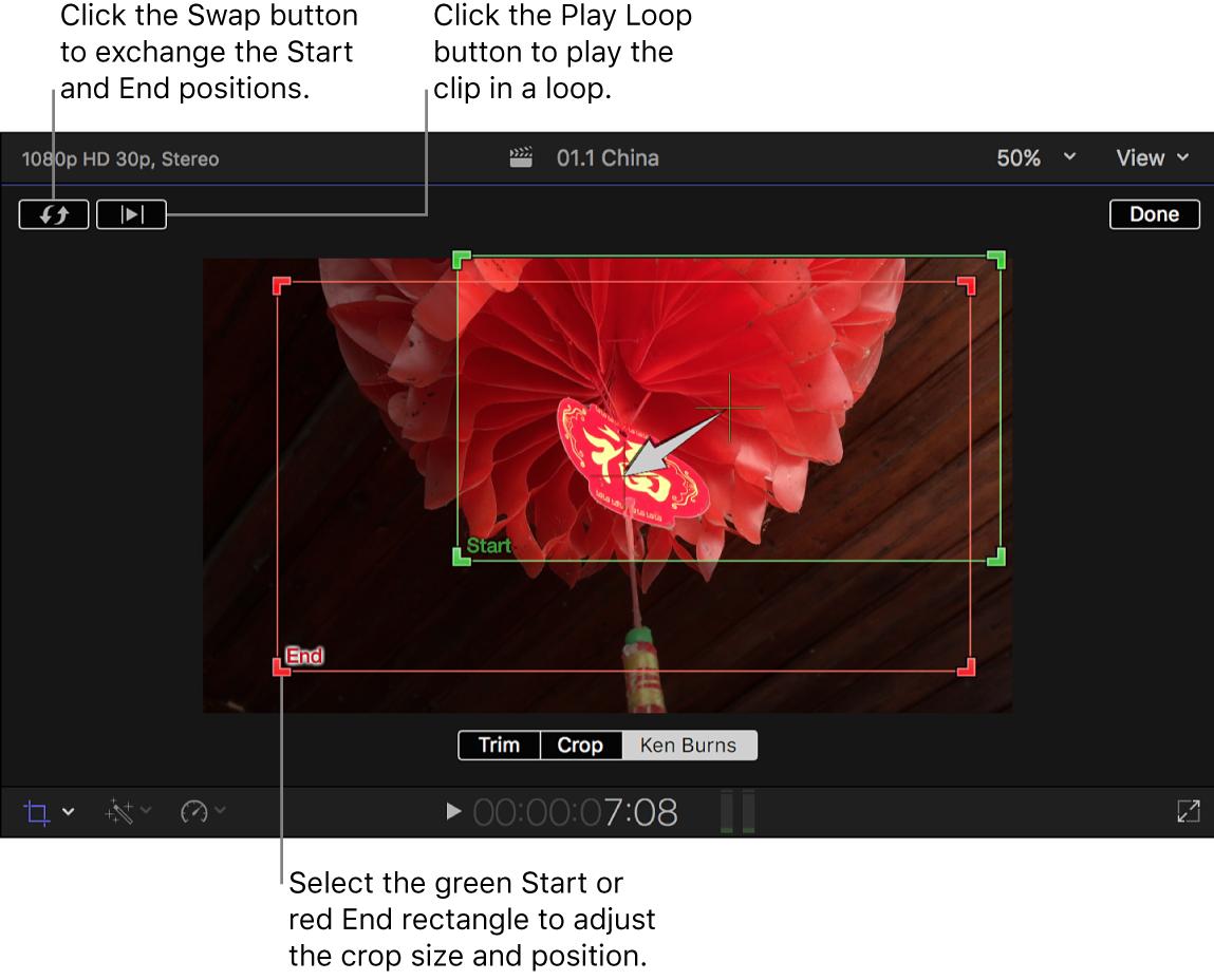 「Ken Burns」エフェクトのオンスクリーンコントロールが表示されたビューア