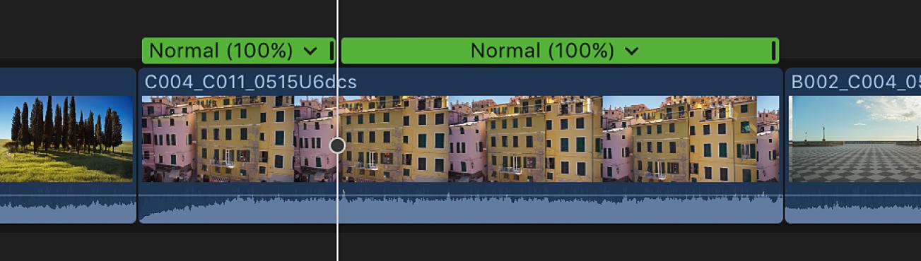 显示速度分段的时间线,速度分段在播放头位置处被分成两个速度分段