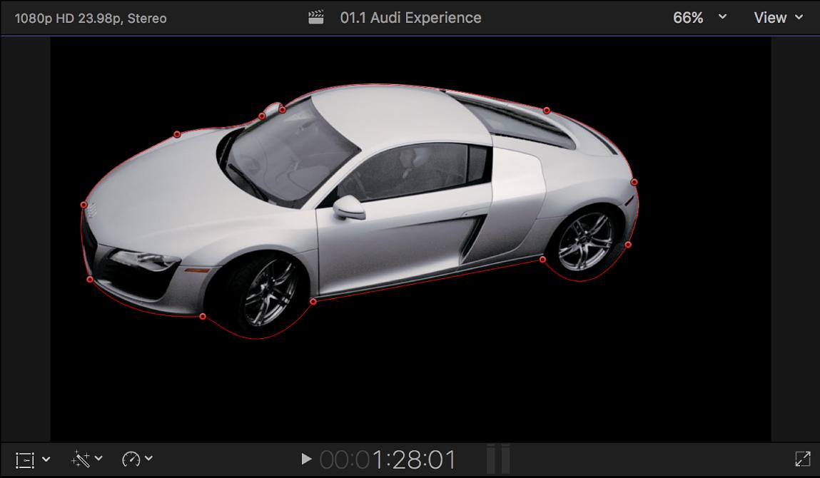 显示含控制点且被表示透明区域的纯黑色环绕的闭合遮罩的检视器