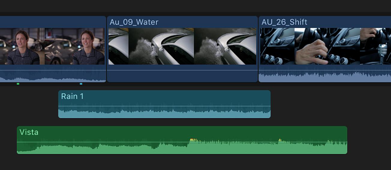 时间线中的片段,包括带音频的视频片段及纯音频片段