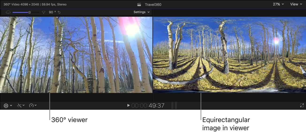 360° 检视器和标准检视器,显示同一个 360° 图像的不同投影
