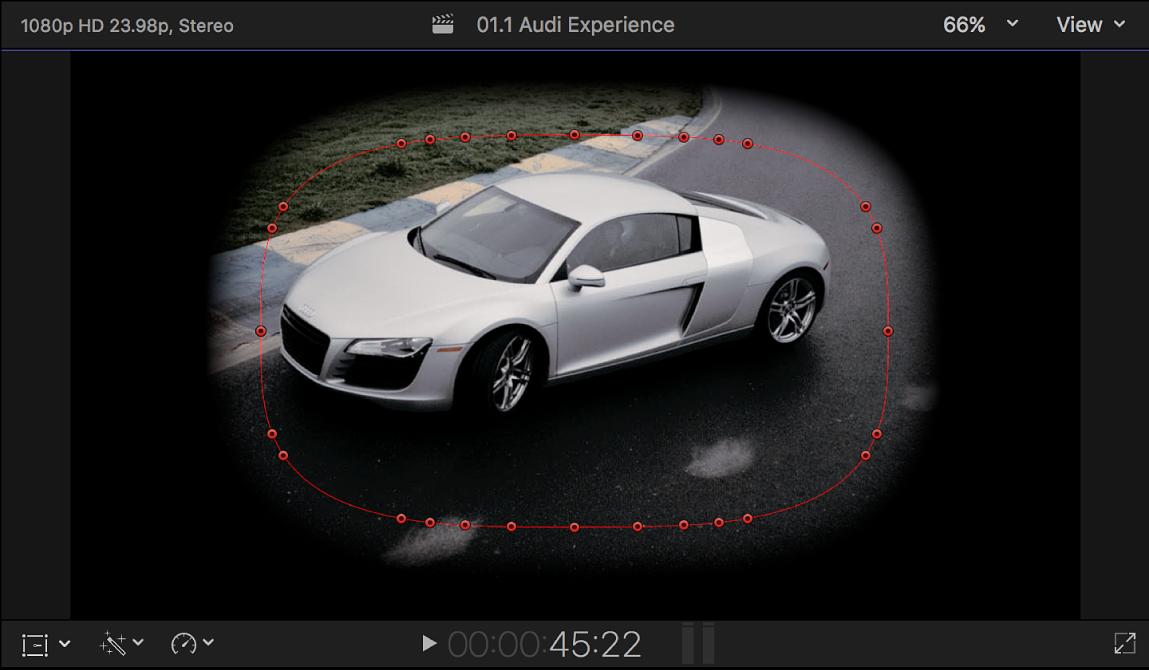 显示含红色控制点且采用部分羽化圆角矩形形状的闭合遮罩的检视器