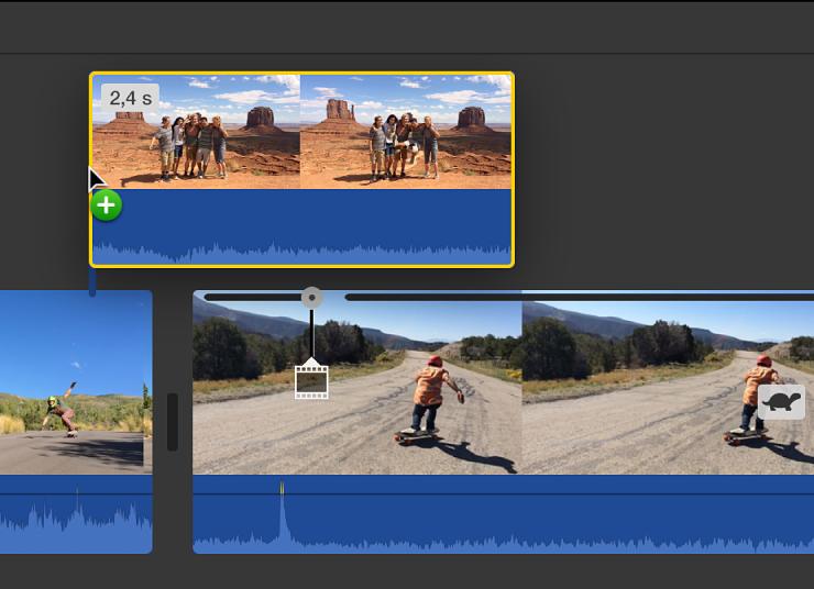 Časová osa se zobrazením klipu přetahovaného na jiný klip za účelem propojení