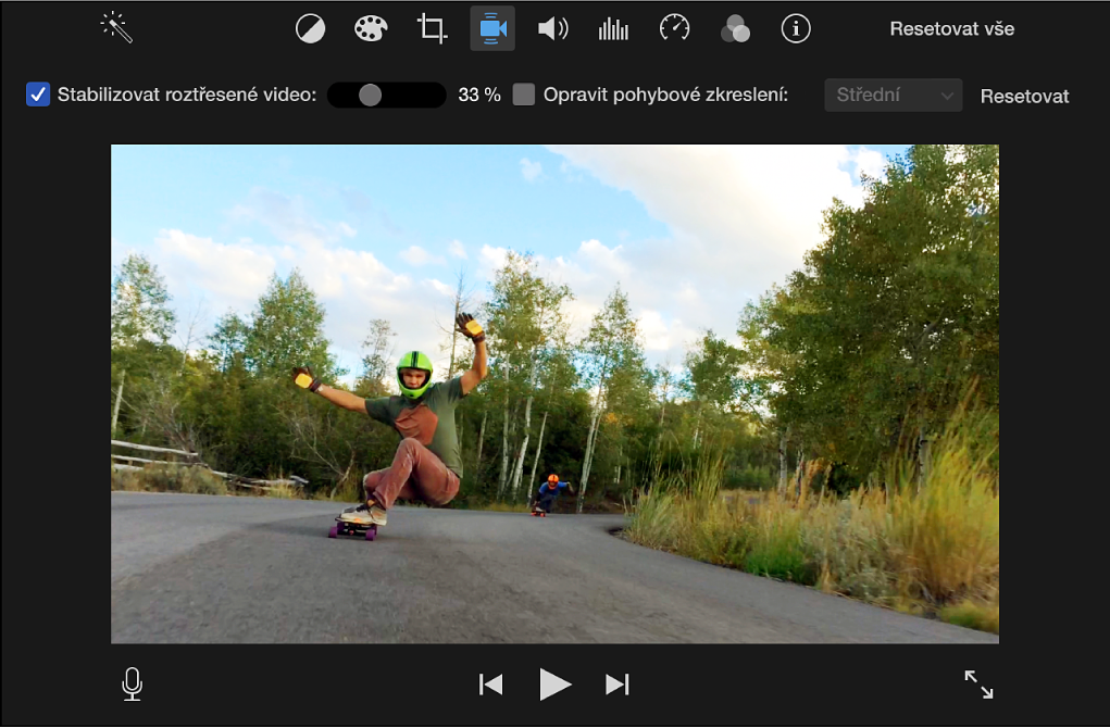 Označené zaškrtávací políčko Stabilizovat roztřesené video nad klipem vprohlížeči