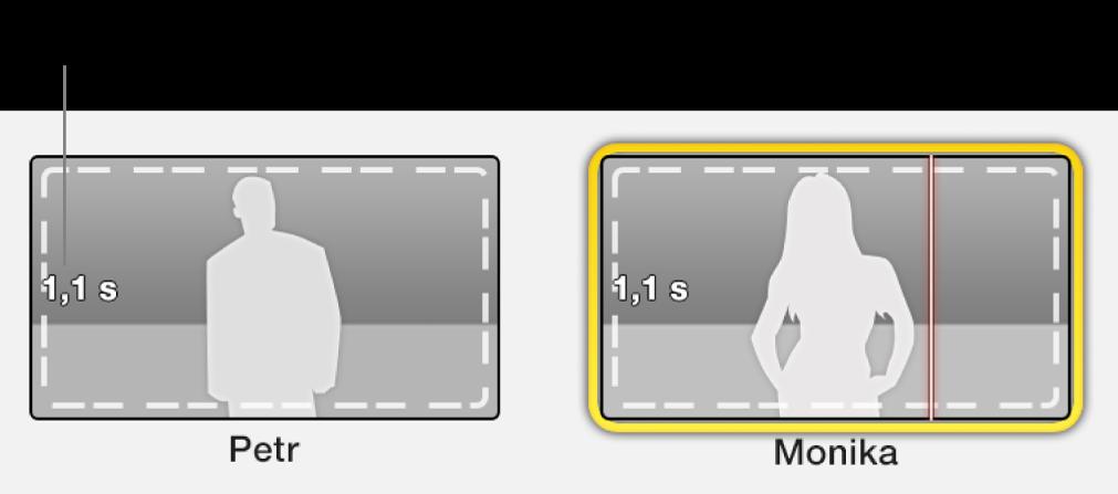 Makety upoutávek obsahující časovou značku sdélkou požadovaného videa