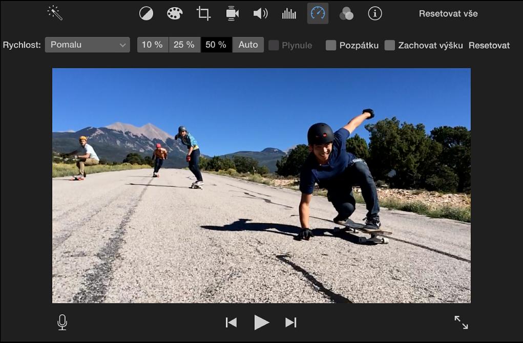 Ovládací prvky rychlosti nad klipem vprohlížeči
