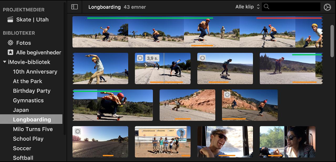 Valgt begivenhed på bibliotekslisten, og klip i begivenhed vises i browser til højre