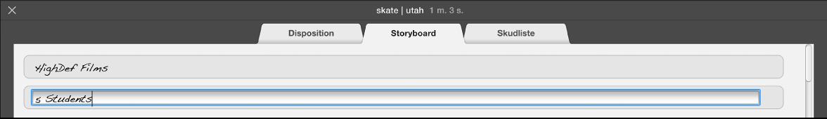 Tekst skrives i vinduet Storyboard til forfilm