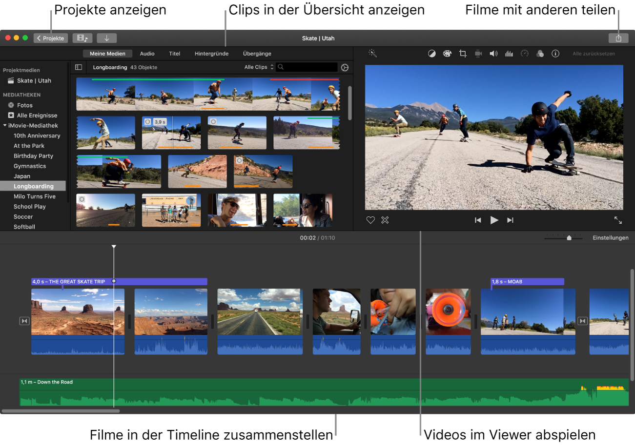 iMovie-Hauptfenster, das die Übersicht oben links, den Viewer unten rechts und die Timeline am unteren Bildschirmrand unten zeigt.